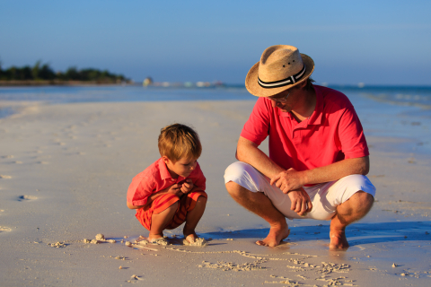 Possums for Parents with Babies - NDC, breastfeeding, baby sleep and crying problems, father and child on beach red shirts